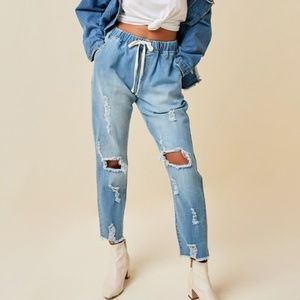 Distressed Drawstring Boyfriend Denim Jeans